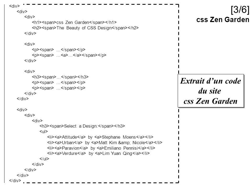 [3/6] Extrait d'un code du site css Zen Garden css Zen Garden